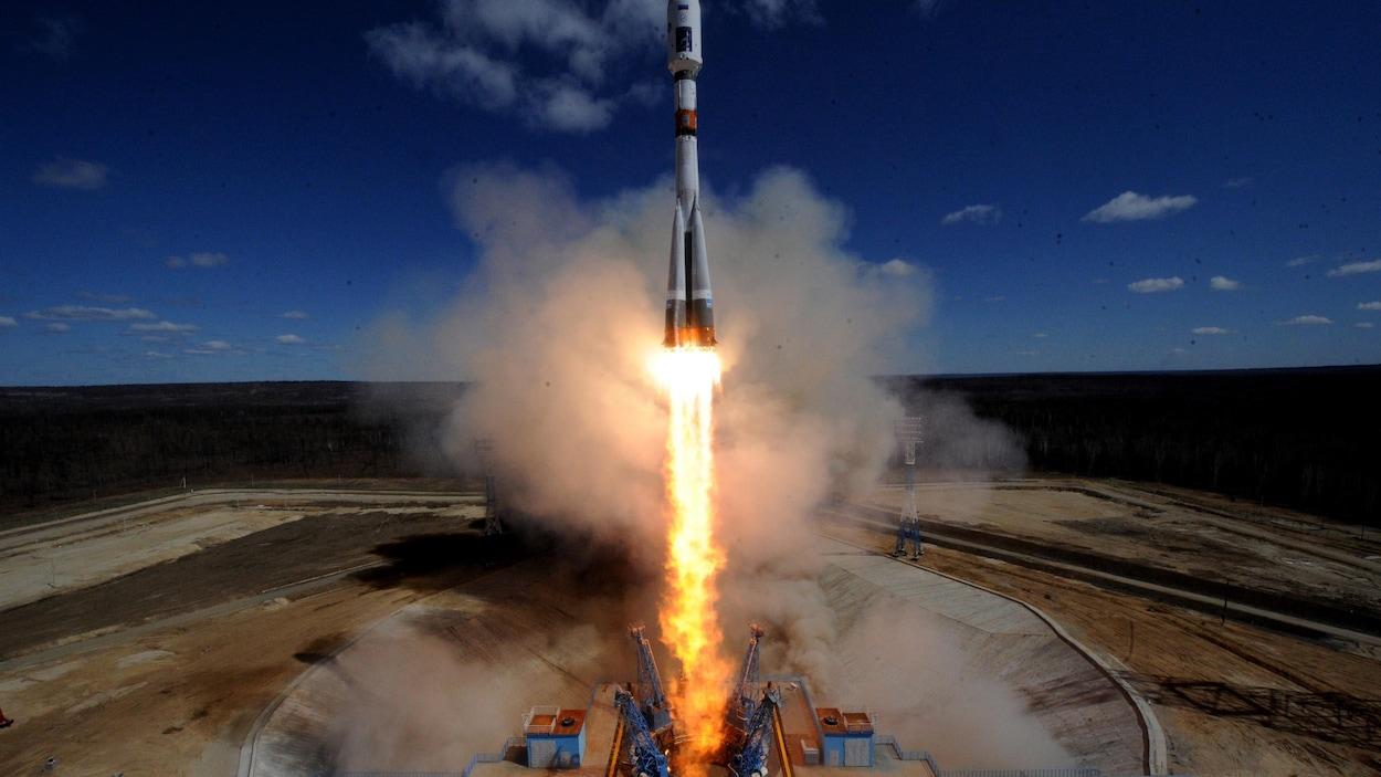 Une fusée Soyouz 2.1a lancée au Cosmodrome Vostotchny en Russie, en avril 2016