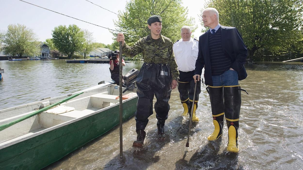 Lors des inondations de 2011 en Montérégie, le chef du NPD, Jack Layton, avait visité Saint-Paul-de-l'Île-aux-Noix.
