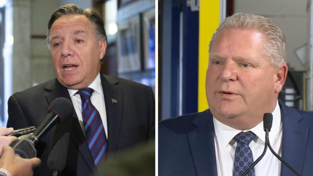 Les premiers ministres du Québec et de l'Ontario, François Legault et Doug Ford.