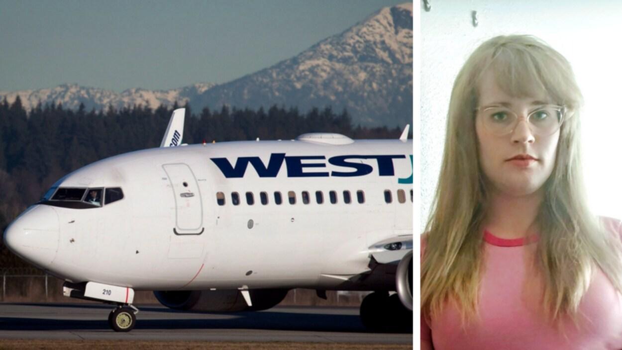 À gauche, on voit un avion sur le tarmac devant une forêt et des montagnes. À droite, la photo d'une femme portant des lunettes.