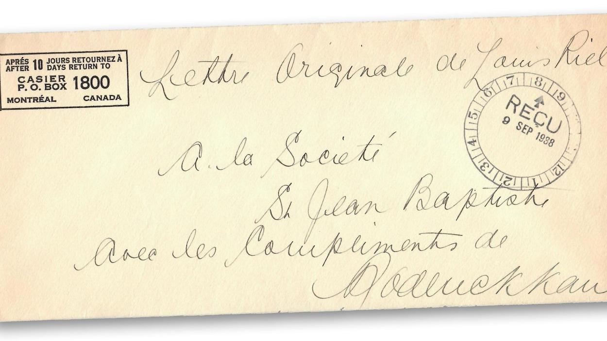 L'enveloppe d'une lettre de Louis Riel.