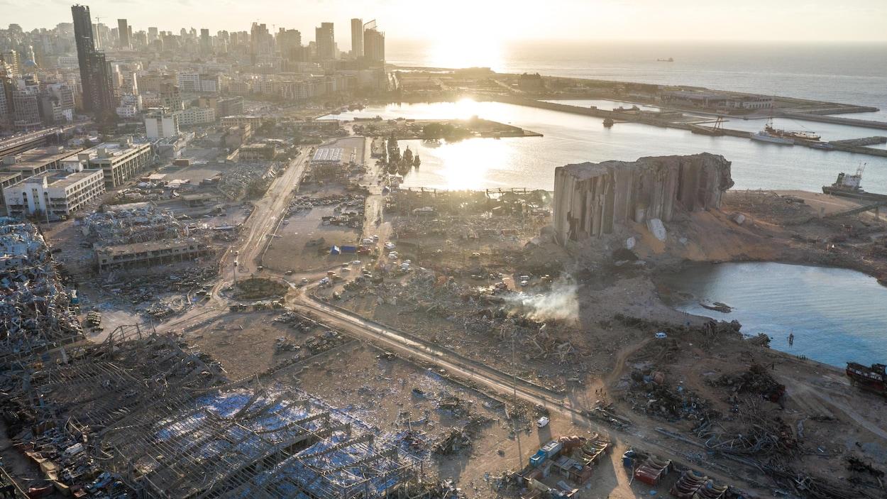 Vue aérienne des dégâts causés par les explosions de Beyrouth.