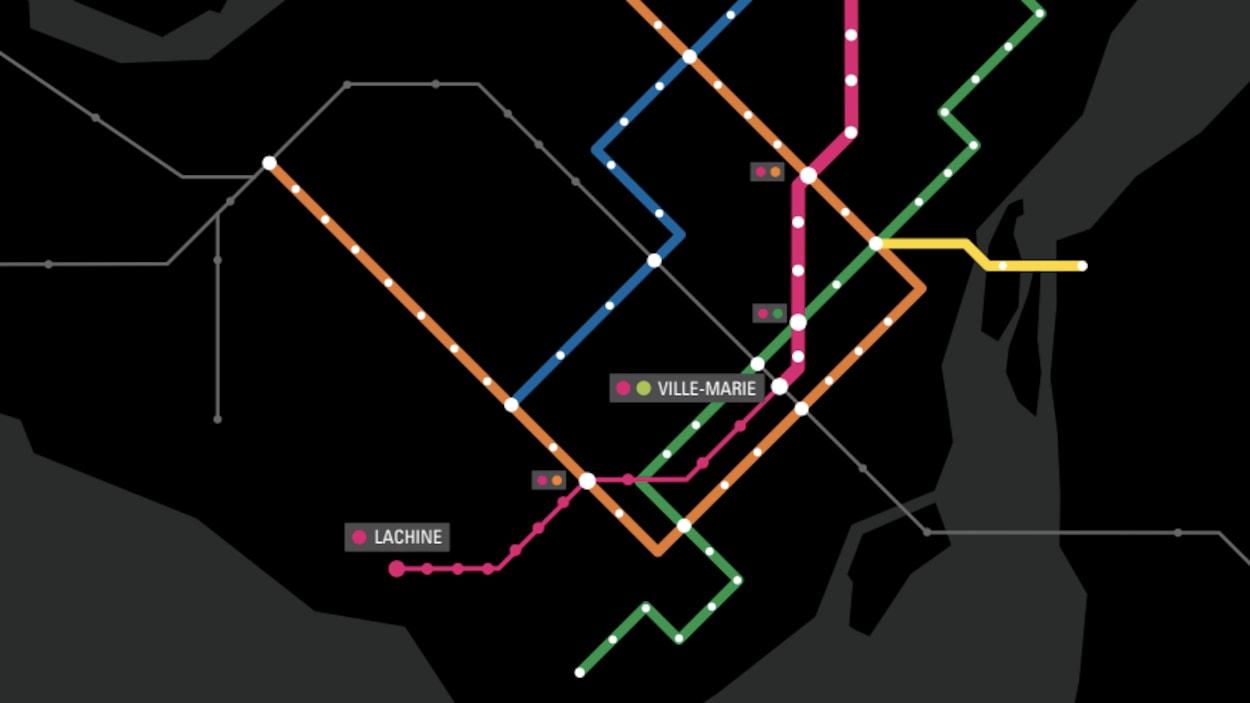 Après les trois phases proposées par Projet Montréal, la ligne rose se rendrait vers l'ouest jusqu'à Lachine.