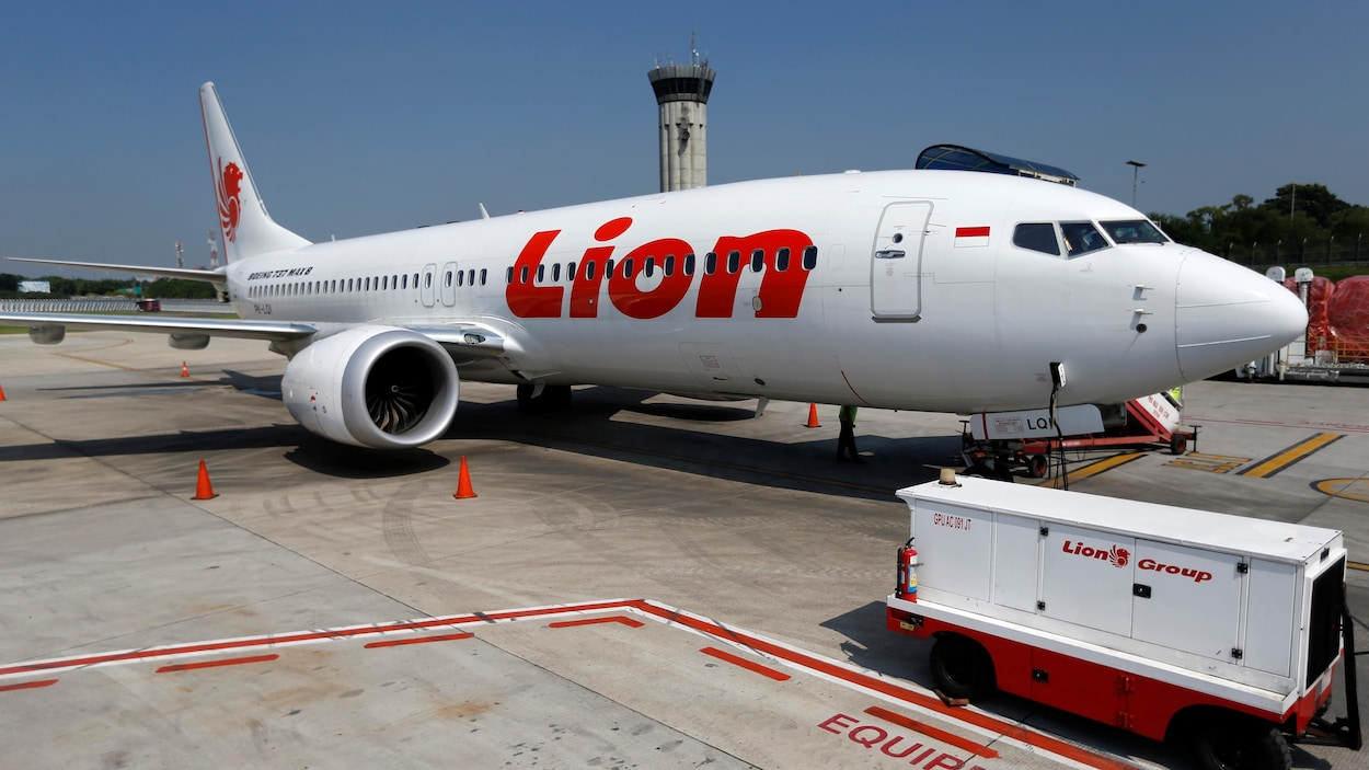 Un avion Boeing 737 Max du transporteur aérien Lion Air est stationné sur le tarmac de l'aéroport international de Jakarta en Indonésie.