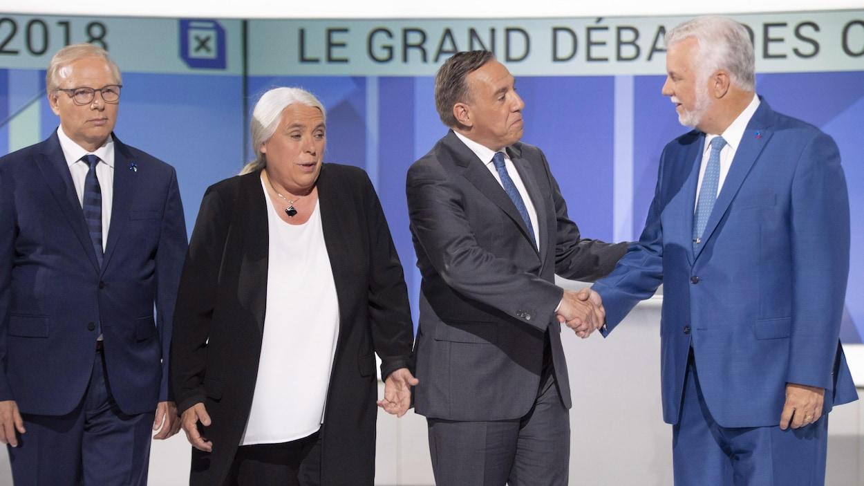 Le chef du Parti québécois Jean-François Lisée, la co-porte-parole de Québec solidaire, Manon Massé, le chef de la Coalition avenir Québec, François Legault, et le chef du Parti libéral du Québec, Philippe Couillard