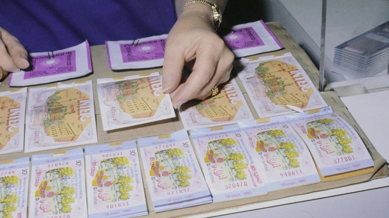 Billets de différentes loteries de Loto-Québec disposés dans un cartable sur un comptoir.