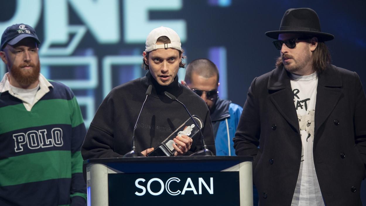 Le rappeur Loud lors de son discours de remerciements à la cérémonie des prix Juno.