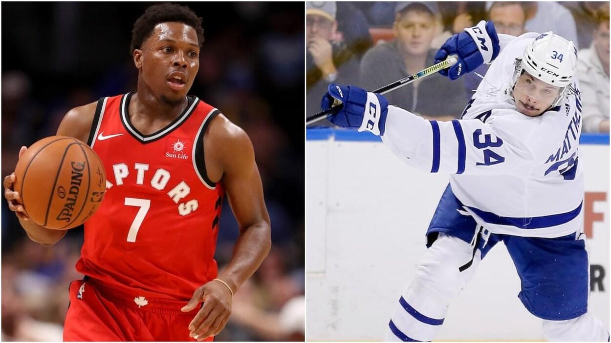 Un joueur de basketball à gauche et un joueur de hockey à droite.