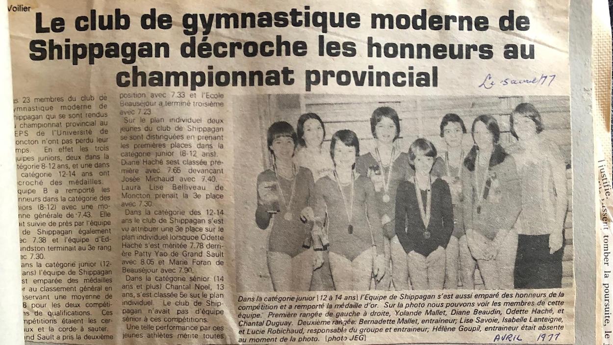 Une coupure de journal datant de 1977 sur les honneurs décrochés par le club de gymnastique.