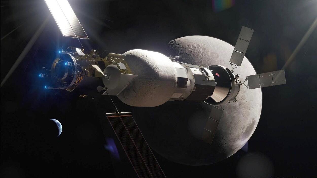 Une image du concept de poste avancé lunaire du projet Lunar Gateway de la NASA