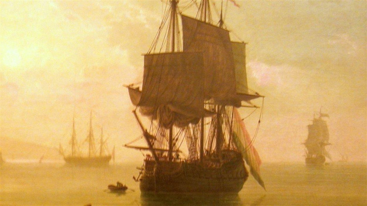 Une peinture de Claude Joseph Vernet représentant le Machault, le Bienfaisant et le Marquis-de-Malauze dans la rivière Ristigouche