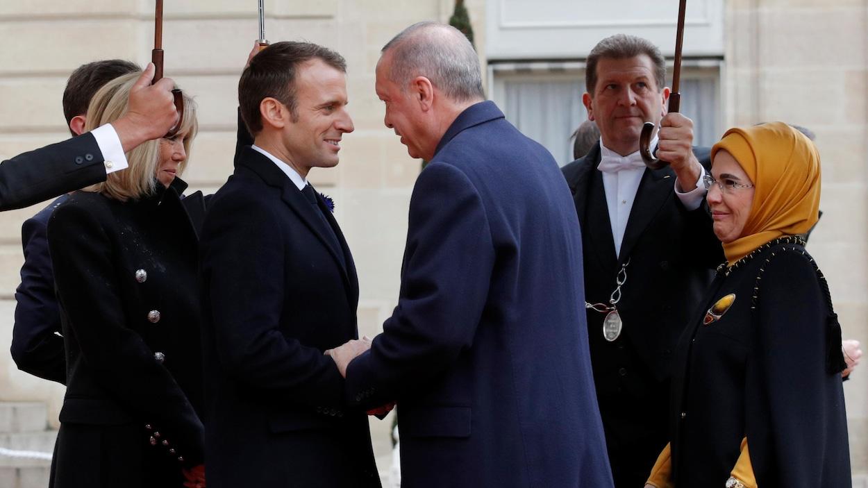 Emmanuel Macron et Recep Tayyip Erdogan à Paris.