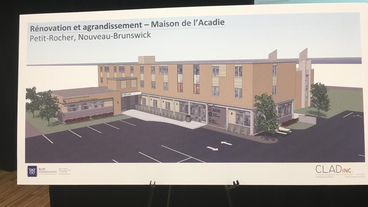 Une maquette de la future Maison de l'Acadie, à Petit-Rocher.
