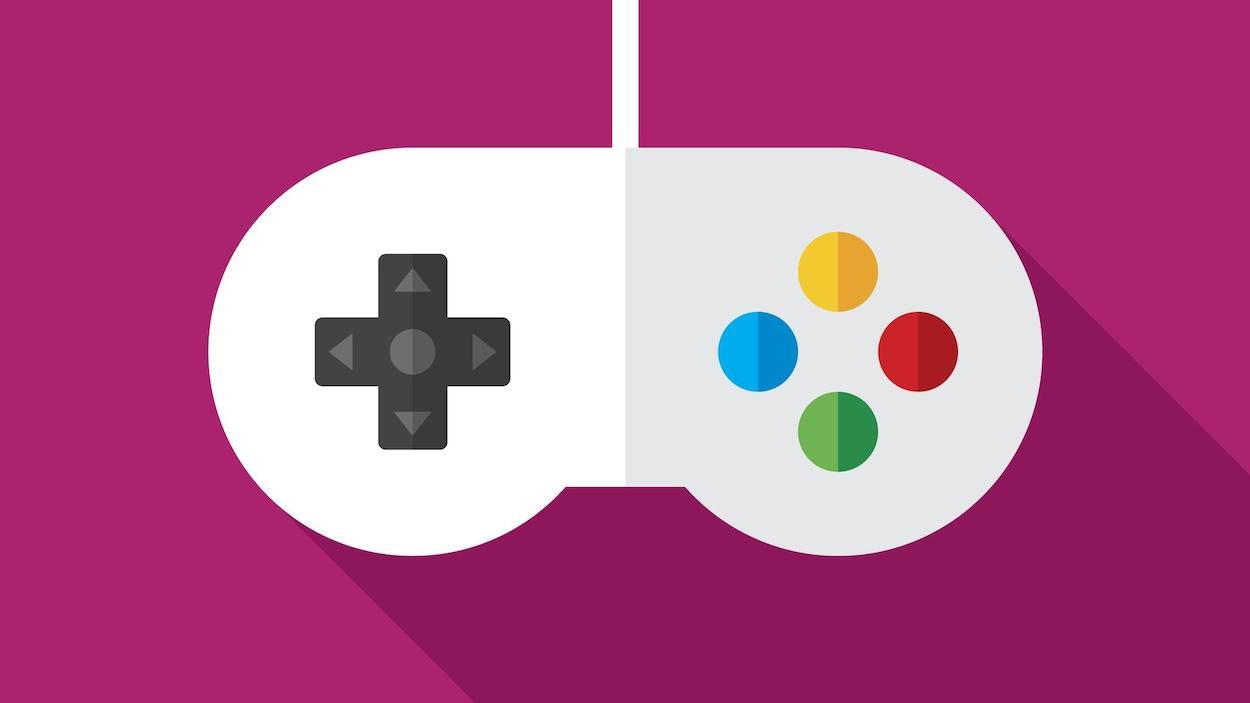 Un dessin d'une manette de jeux vidéo blanche et grise rappelant celle de la console Super Nintendo. Dans la partie gauche de la manette se trouve une croix directionnelle et, dans la partie droite, quatre boutons colorés. La manette est superposée à un fond rose.