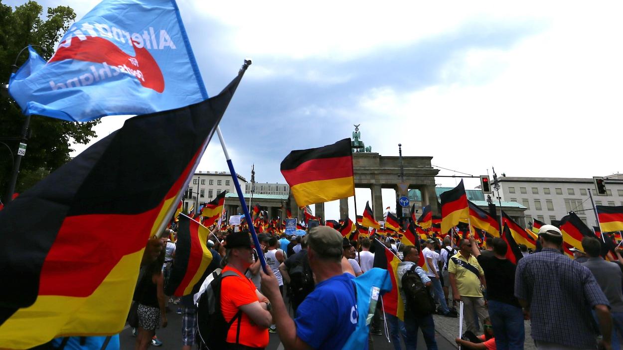 Des manifestants du parti anti-immigration Alternative pour l'Allemagne brandissant des drapeaux allemands.