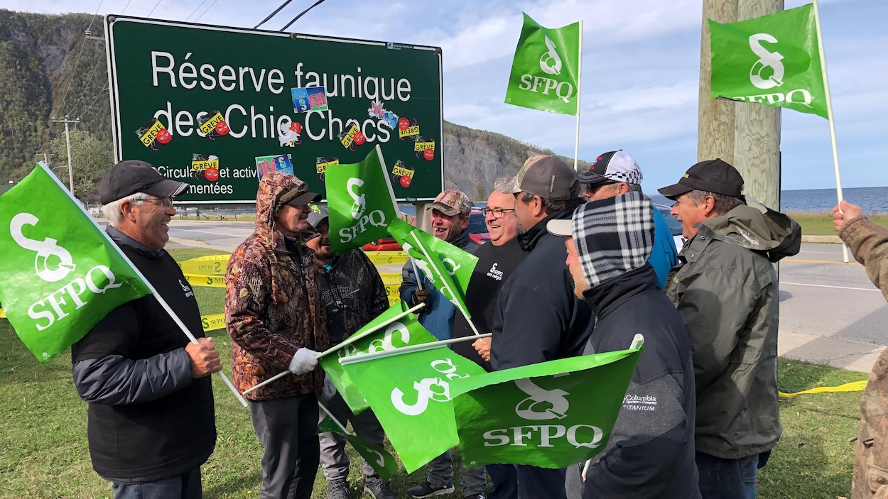 Les manifestants affichent leur affiliation syndicale en brandissant des drapeaux de la SFPQ