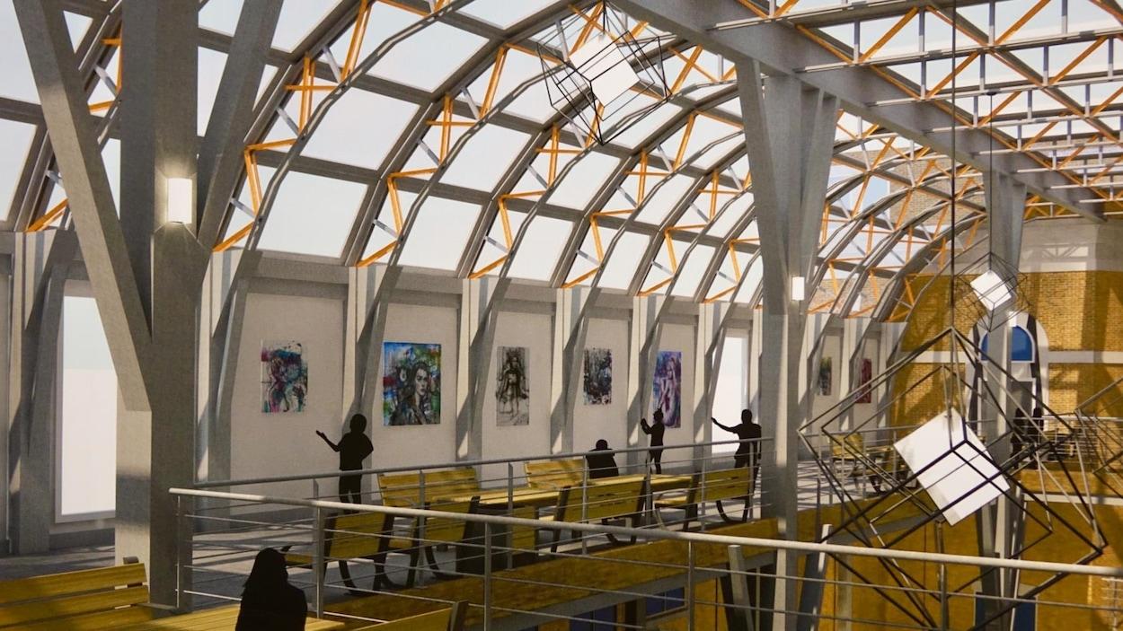 Détail du travail de l'étudiant Simon Tremblay, qui a imaginé une galerie d'art située au troisième étage, avec vue sur le fleuve.
