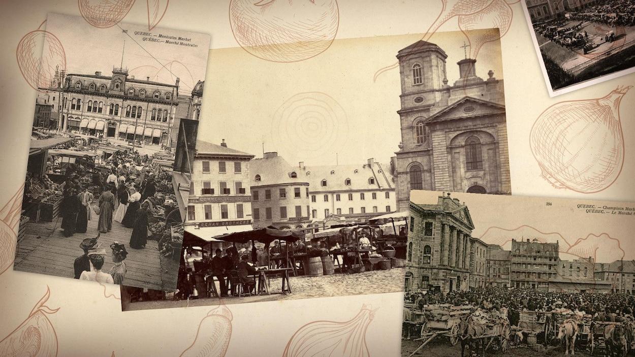 Images d'archives en noir et blanc des marchés public de Québec au fil du temps