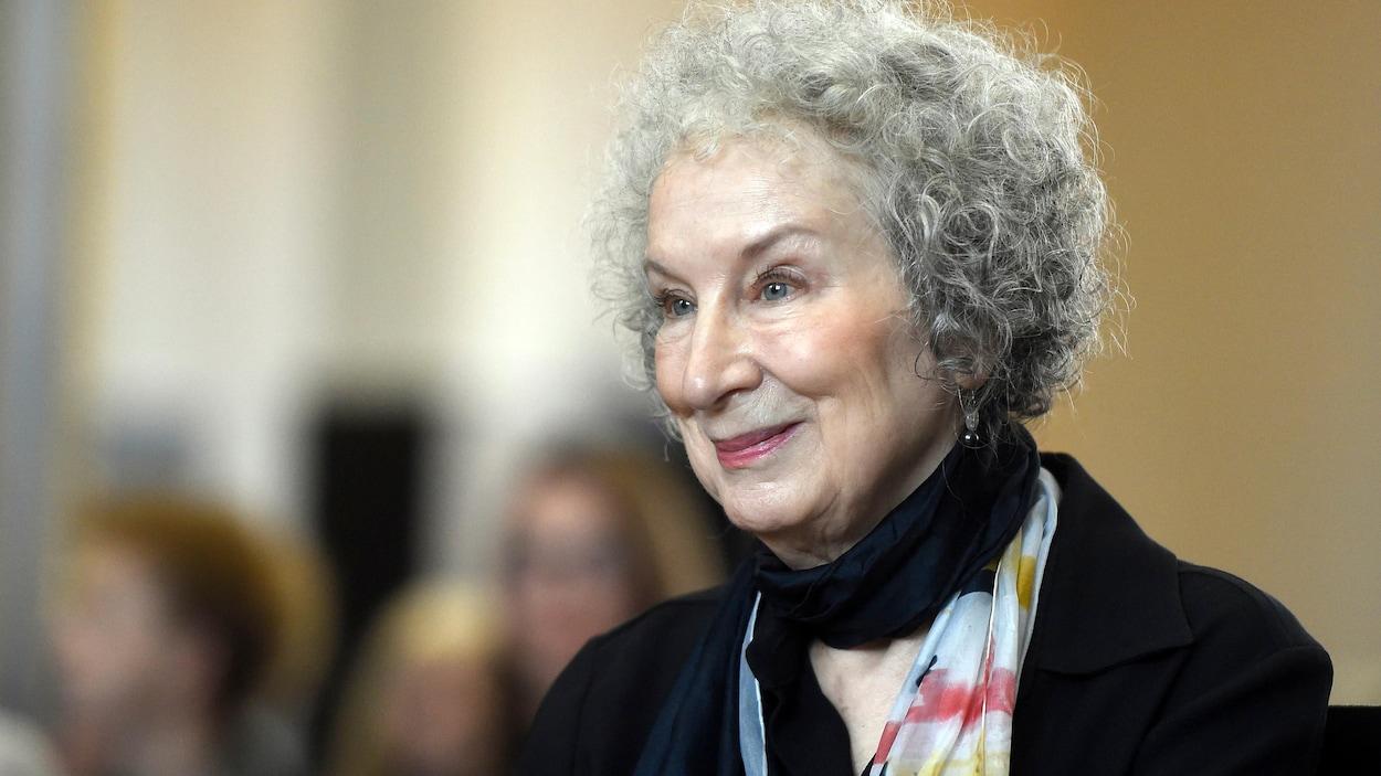 L'auteure canadienne Margaret Atwood à la cérémonie des prix Franz Kafka à Prague, le 17 octobre 2017