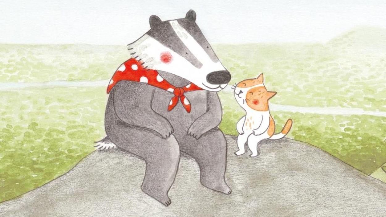 Détail de la couverture du livre Le chemin de la montagne, de Marianne Dubuc : illustration représentant un blaireau et un chat assis sur une roche