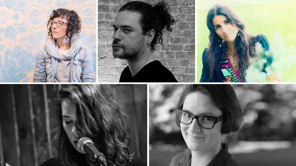 Les poètes Marie-Eve Blanchard, François Guerrette, Ouanessa Younsi, Emmanuelle Riendeau et Marie-Hélène Constant