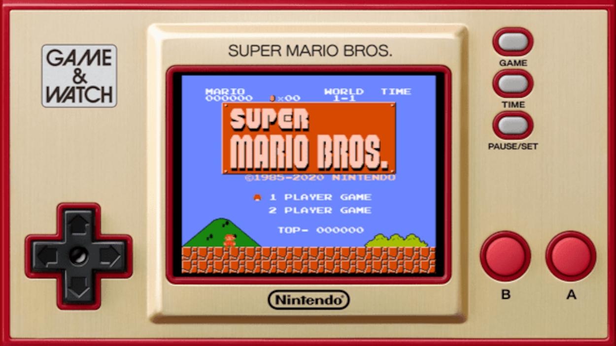 Une console ressemblant à une console Game Boy affiche l'écran d'accueil du jeu Super Mario Bros.