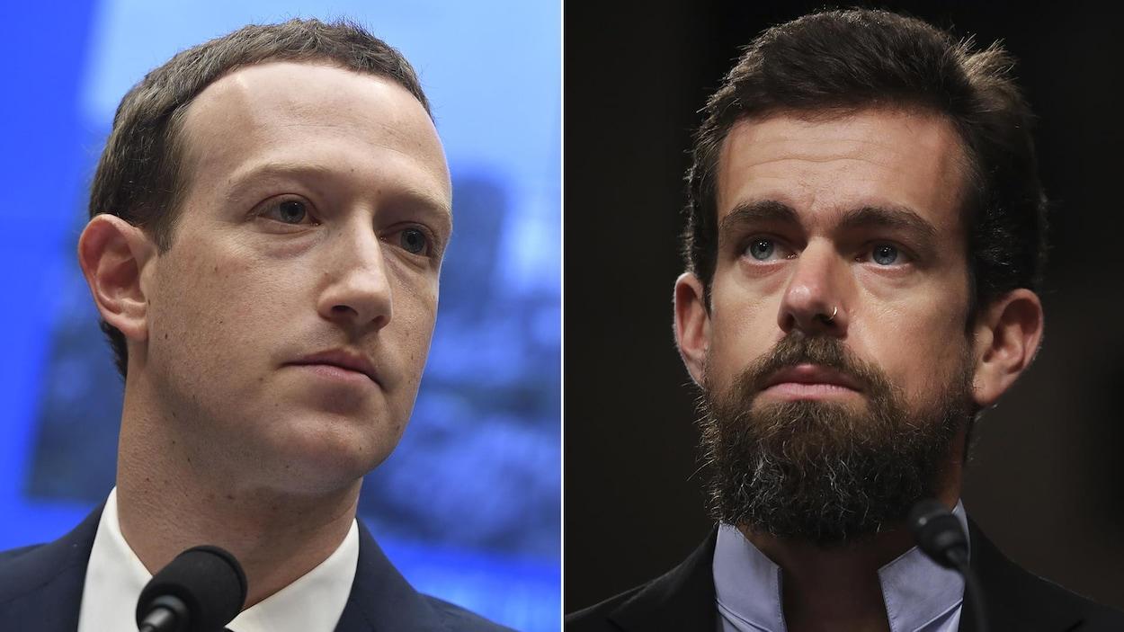 Un montage de deux photos. Celle de gauche montre Mark Zuckerberg et celle de droite montre Jack Dorsey.