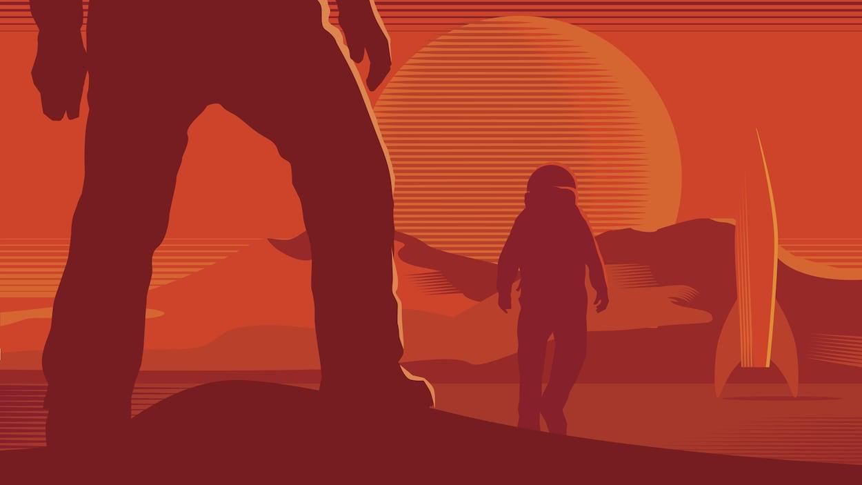 Des astronautes sur une planète lointaine