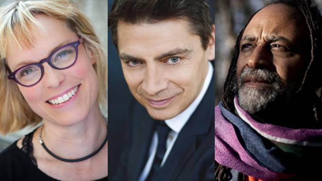 Les auteurs Martine Delvaux, Michel Jean et Rodney Saint-Éloi