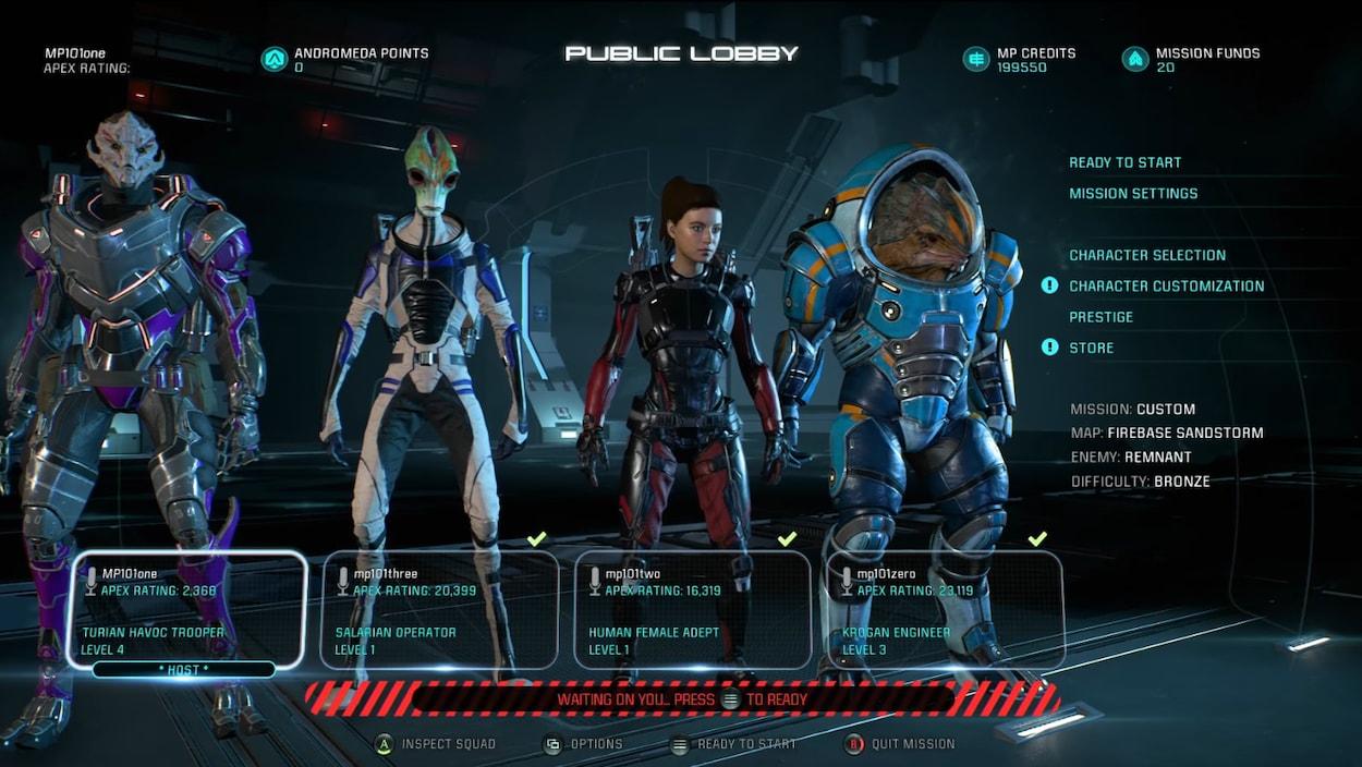 Capture d'écran du menu multijoueur du jeu Mass Effect: Andromeda