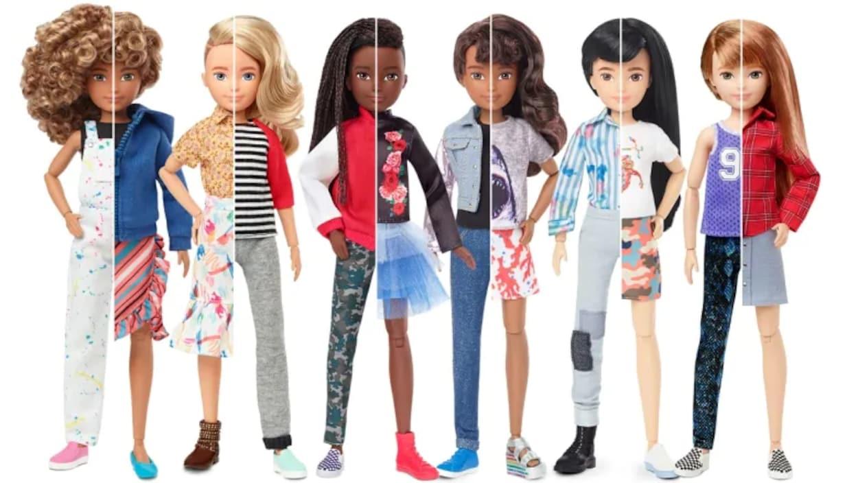 Des poupées présentées dans une diversité de tenues et de styles.