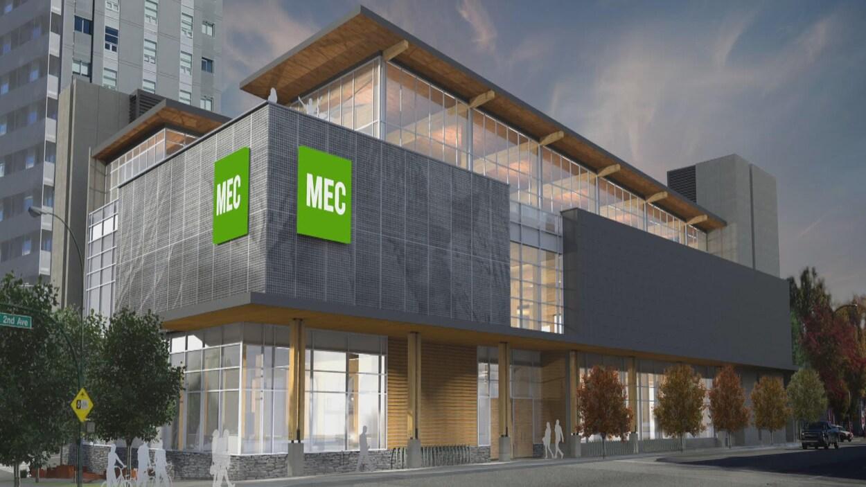 Un dessein numérique du nouveau magasin de MEC dans le Village Olympique de Vancouver