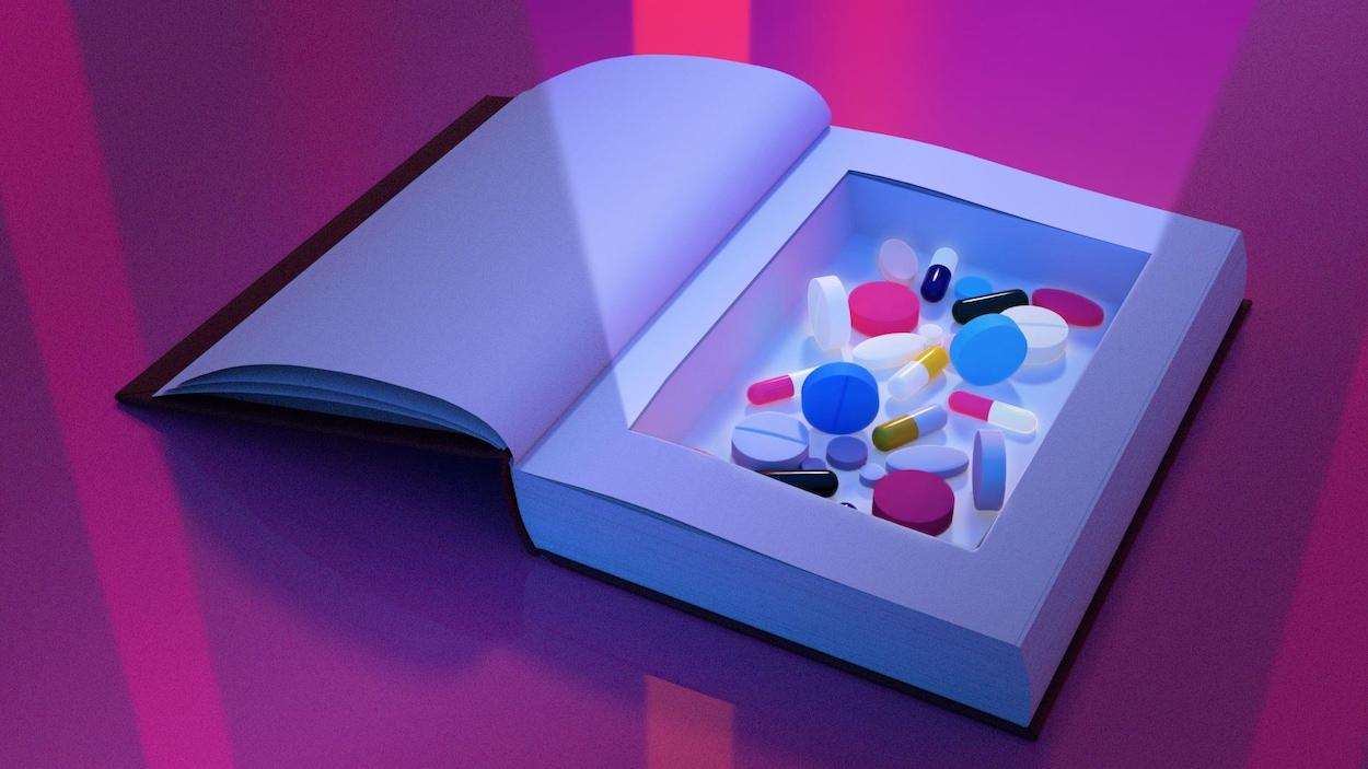 Des médicaments dans un livre