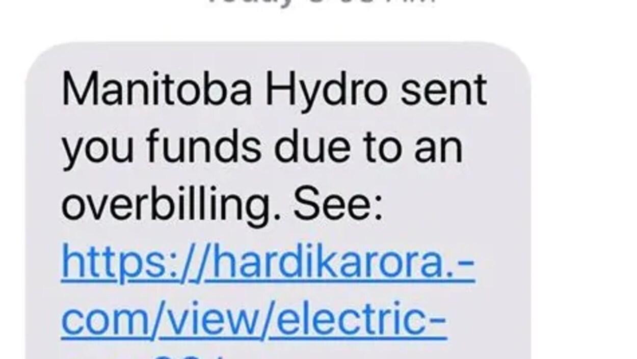 Un message texte où il est écrit en anglais Hydro Manitoba vous a envoyé un remboursement en raison d'une surfacturation. Pour recevoir l'argent cliquer sur ce lien.