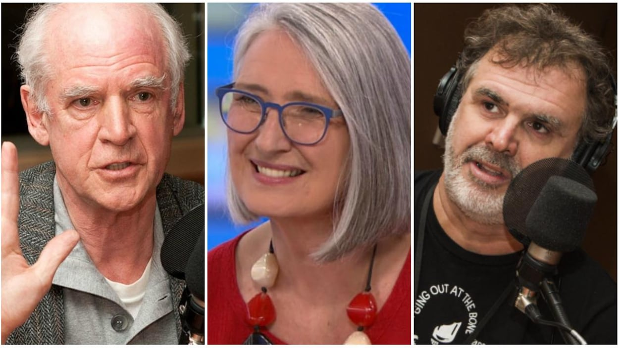 Charles Taylor, Louise Penny et Patrick Senécal ont été photographiés tour à tour lors de leur passage dans les studios de Radio-Canada.