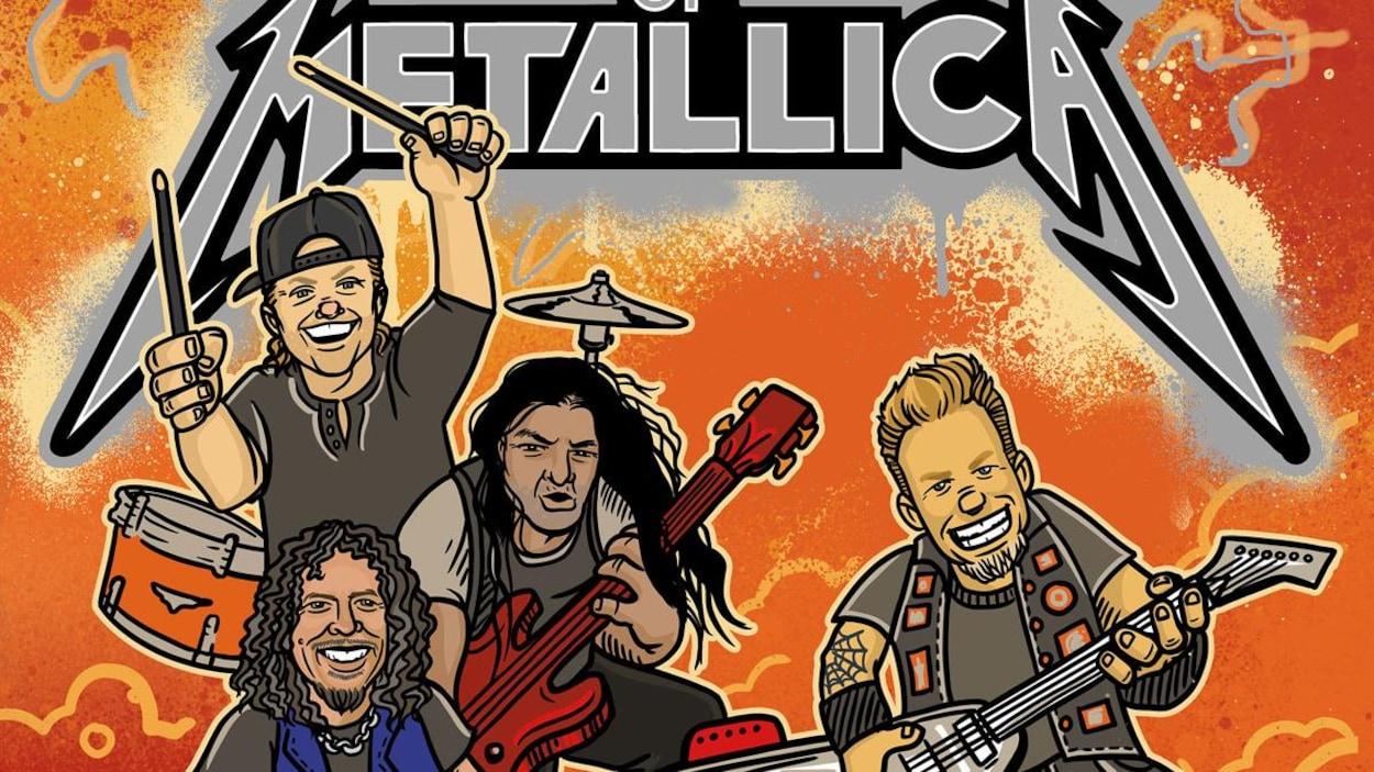 La couverture du livre The ABCs of Metallica : une illustration montrant les quatre membres actuels du groupe, surmontée du titre du livre empruntant la typographie habituelle utilisée par le groupe.