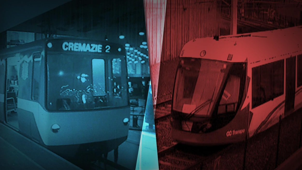 Un montage photo présente le métro de Montréal à l'époque de son inauguration et le train léger d'Ottawa.