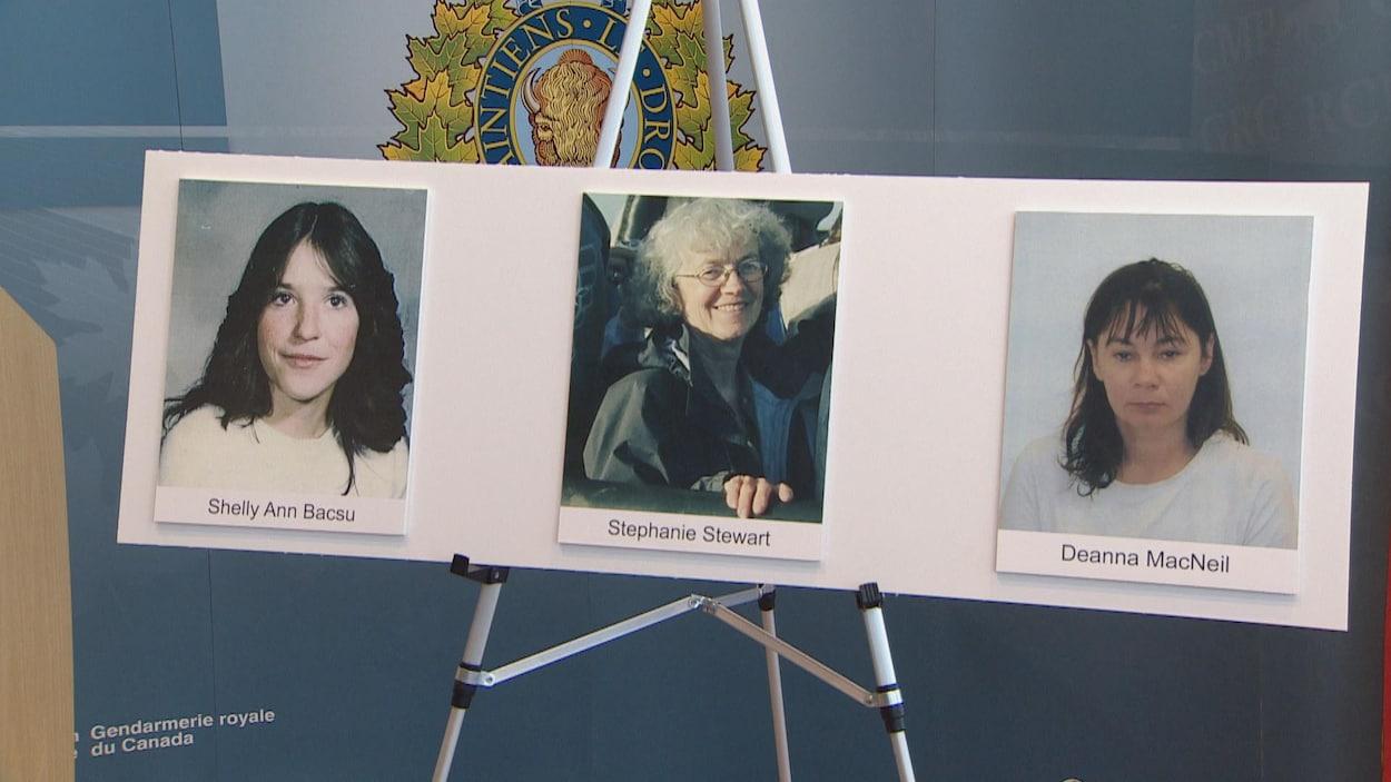 Photos de trois femmes de différents âges sur un carton
