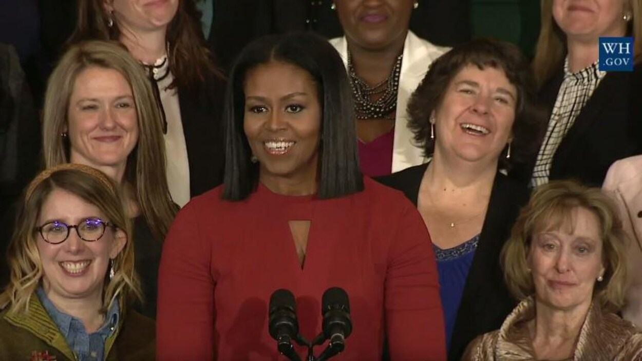 La première dame des États-Unis lors de son dernier discours à la Maison-Blanche