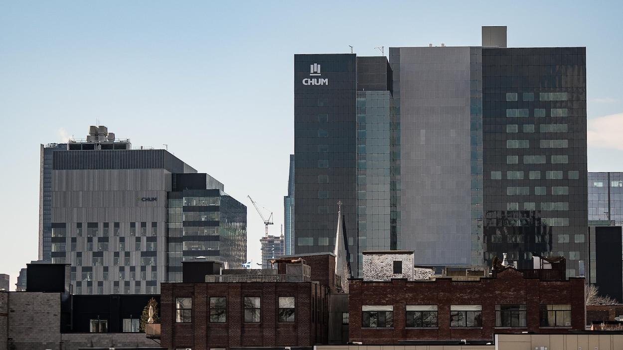 Les immeubles du CHUM, au centre-ville de Montréal.