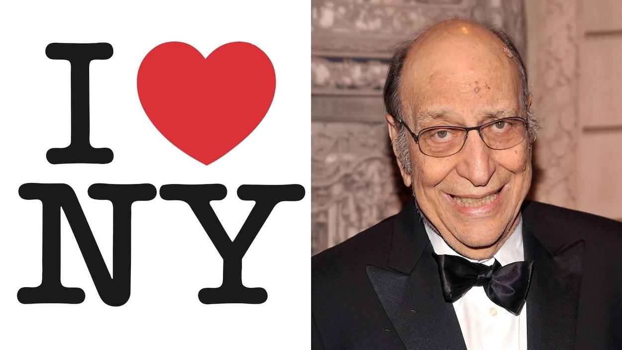 Logo I Love New York et l'homme derrière sa conception habillé en tuxedo