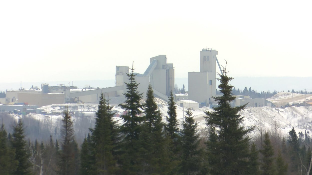 Les installations de la mine Westwood vues de loin, avec des épinettes noires au devant.