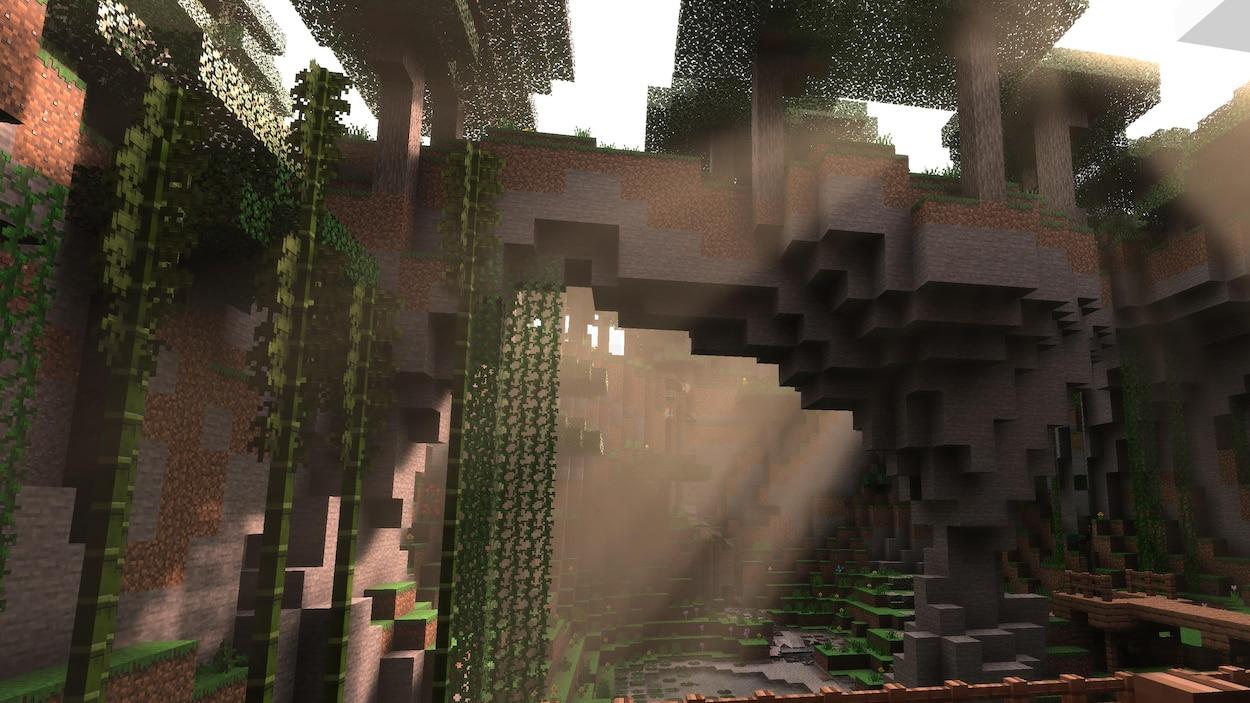 Une caverne dans Minecraft.