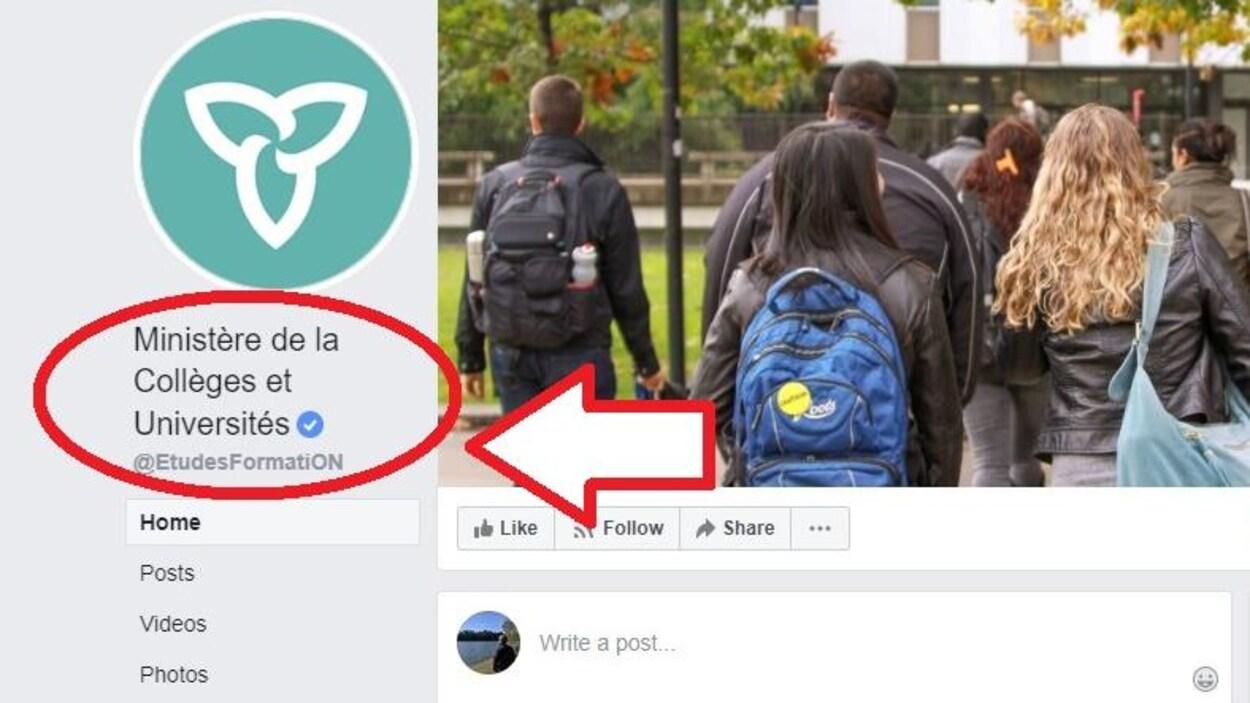 L'interface Facebook du ministère des Collèges et des Universités.