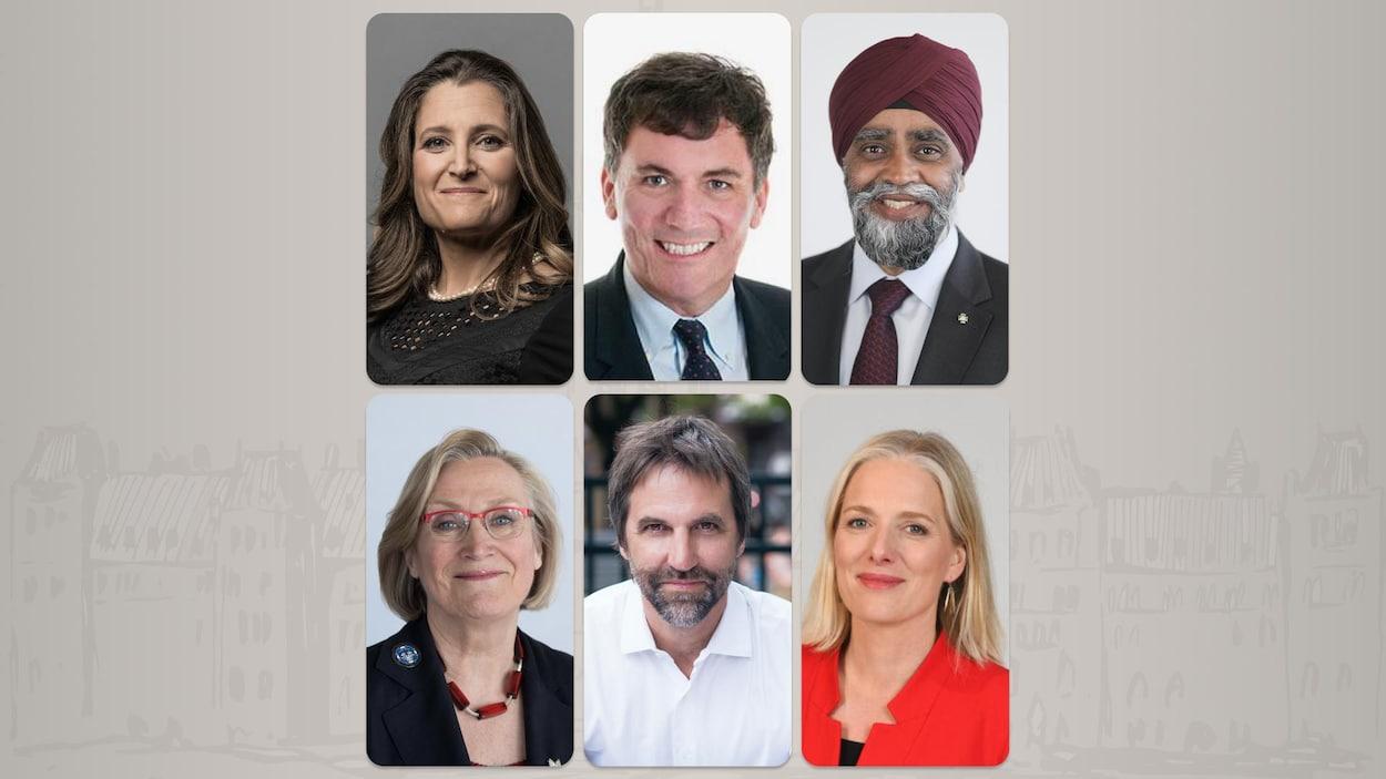 Six des ministres du Cabinet Trudeau