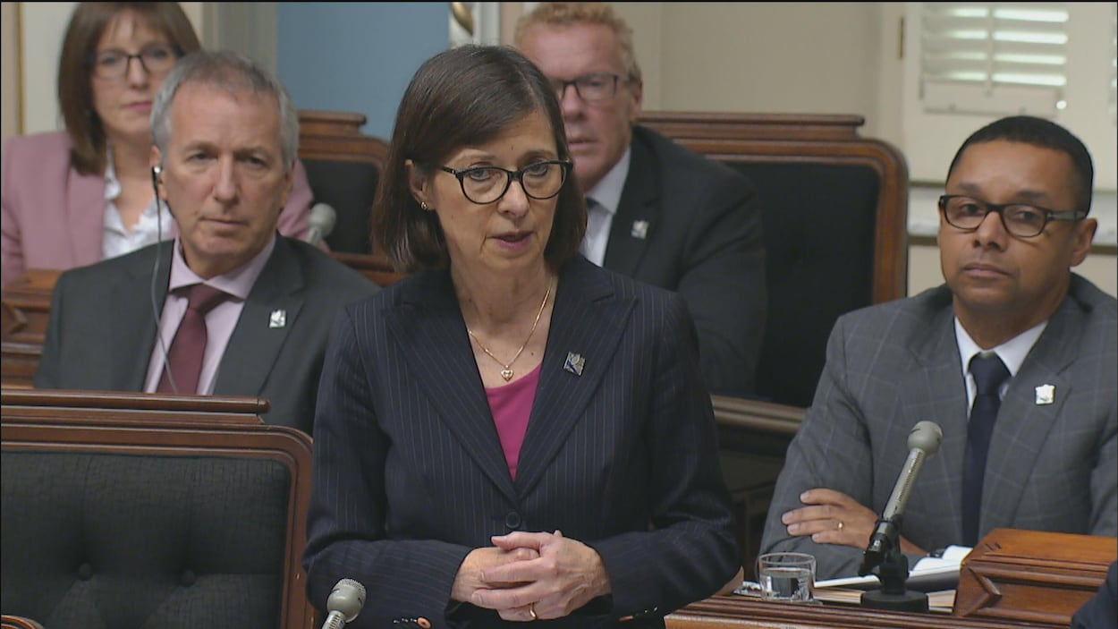La ministre parle à l'Assemblée nationale.