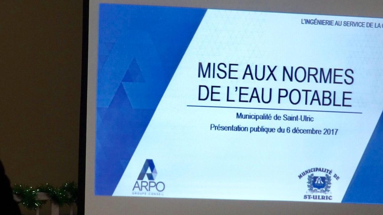 Diapositive de la présentation du nouveau projet de mise aux normes de l'eau potable à Saint-Ulric