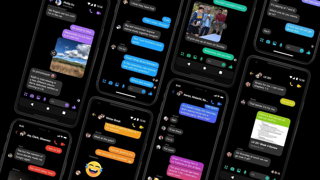 Huit téléphones affichant des conversations sur Messenger en mode sombre.