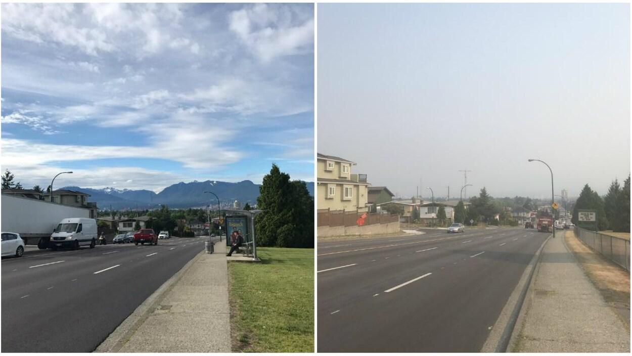 À gauche une photo des montagnes au nord de Vancouver lors d'une journée claire et ensoleillée et à droite une photo des montagnes rendus invisibles par la fumée