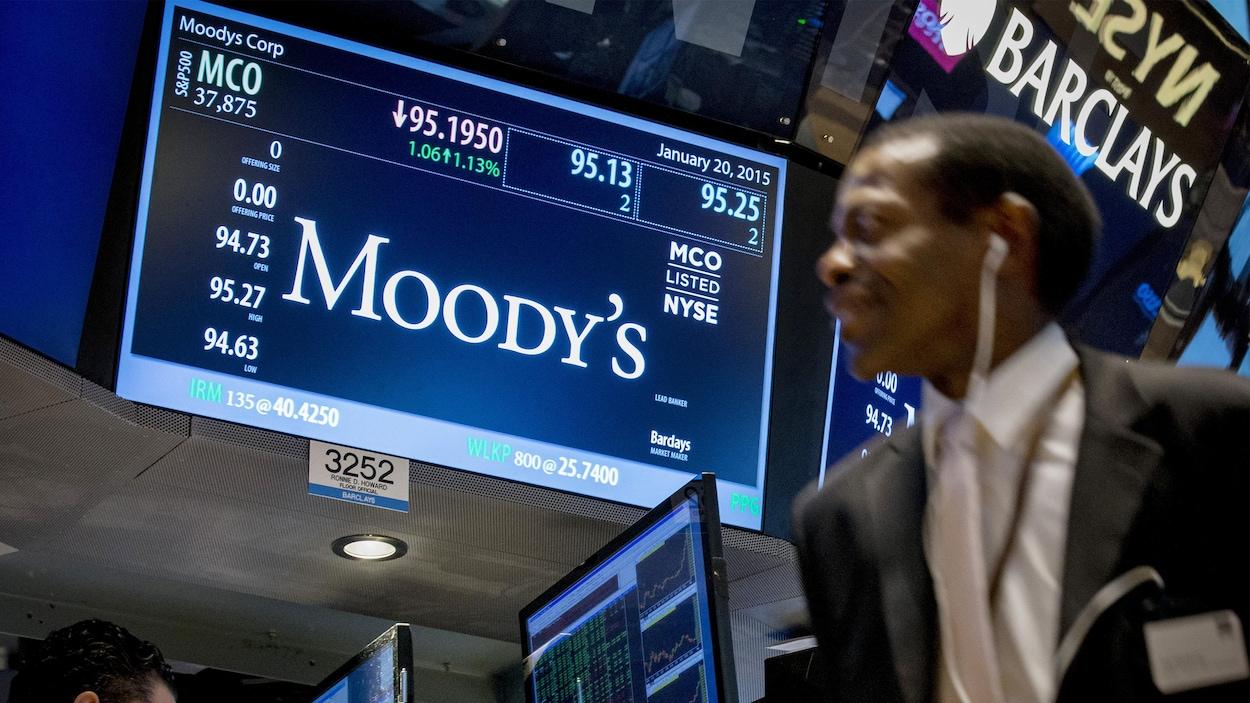 Un écran montrant le nom de l'agence Moody's, ainsi que des informations sur les transactions.